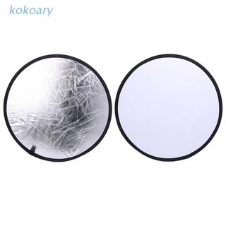 KOK 2 in 1 55-60cm Light Mulit Collapsible Disc Photography Reflector Silver/White