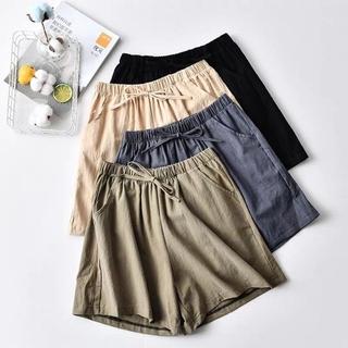 Quần Short Vải Lanh Cotton Lưng Cao Thời Trang Cho Nữ