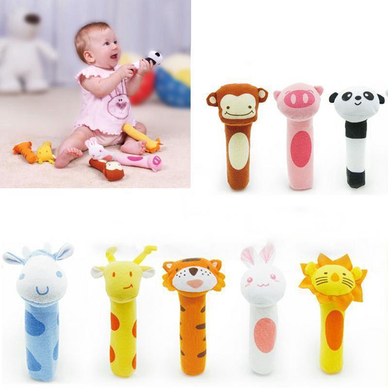 Soft Sound Animal Handbells plush Squeeze Rattle For Newborn Baby Fantastic Toy