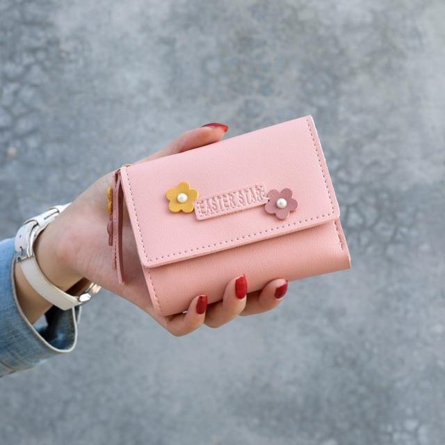🔥Freeship 50K🔥 Ví nữ FLOWER cao cấp cầm tay đẹp nhỏ gọn bỏ túi đựng tiền DR8090