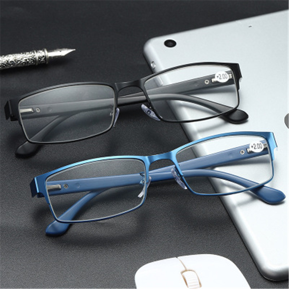 ❀SIMPLE❀ Men Eyeglasses Magnifying Vision Care Business Reading Glasses Flexible Portable Metal Titanium Alloy New Fashion Ultra Light Resin Eye...