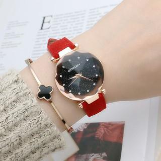 Đồng hồ nữ Gogoey Korea G1 dây da lộn 3D vát cạnh + Tặng kèm hộp và Pin dự phòng AH469