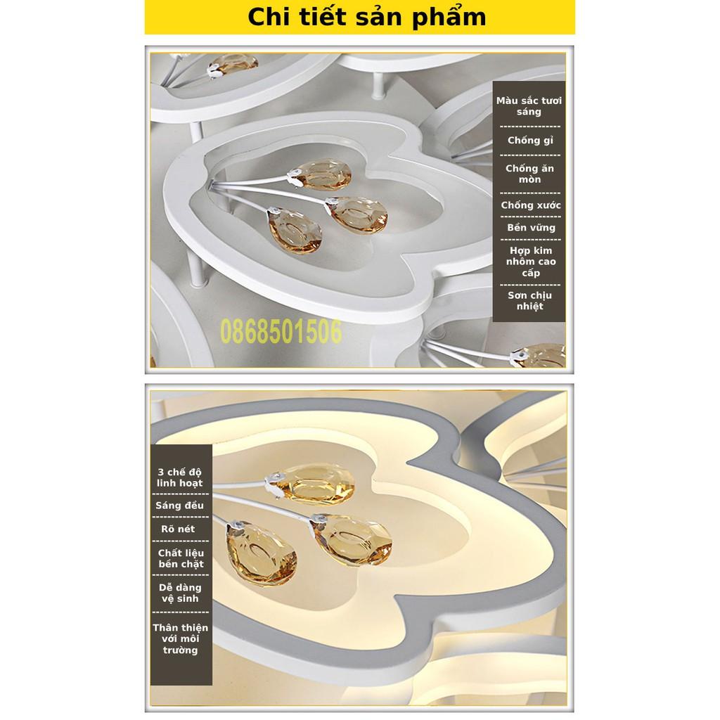 ĐÈN ỐP TRẦN phòng  khách, đèn LED trang trí  12 cánh- G05, 3 chế độ sáng kèm điều khiển tăng chỉnh