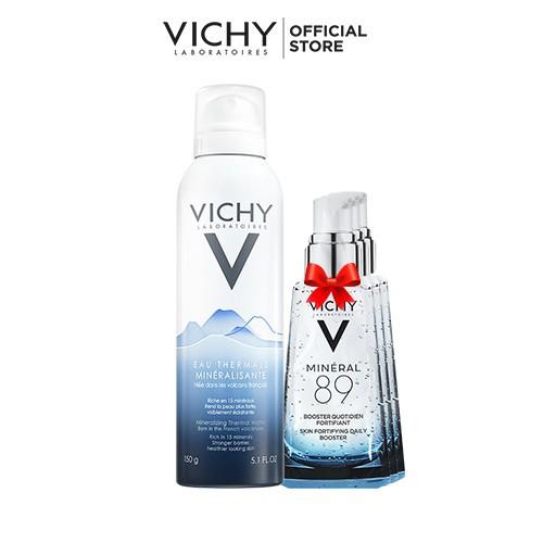 Bộ xịt khoáng dưỡng da Vichy Mineralizing Thermal Water 150ML + Tặng dưỡng chất giàu khoáng chất Mineral 89