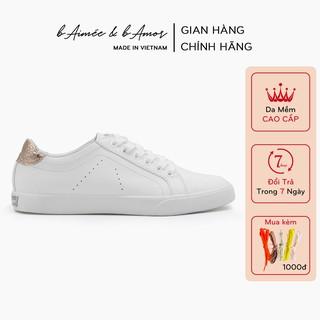 Giày thể thao nữ sneaker màu trắng đẹp dáng giày bata đế bằng cổ thấp chính hãng bAimée & bAmor - MS0963