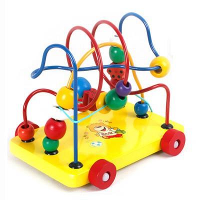 [Freeship] Đồ chơi gỗ luồn hạt – Xe kéo luồn hạt giúp bé phát triển tư duy