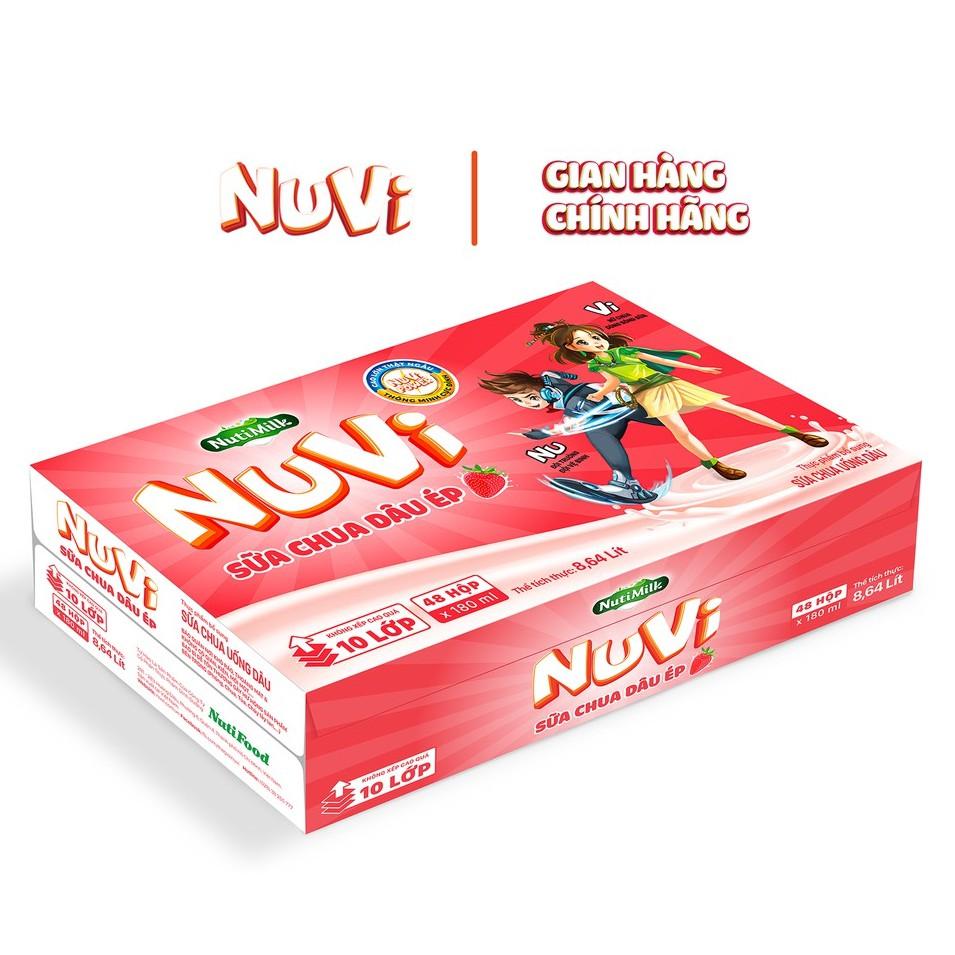 Thùng 48 hộp NuVi Sữa chua uống dâu ép 180ml/hộp