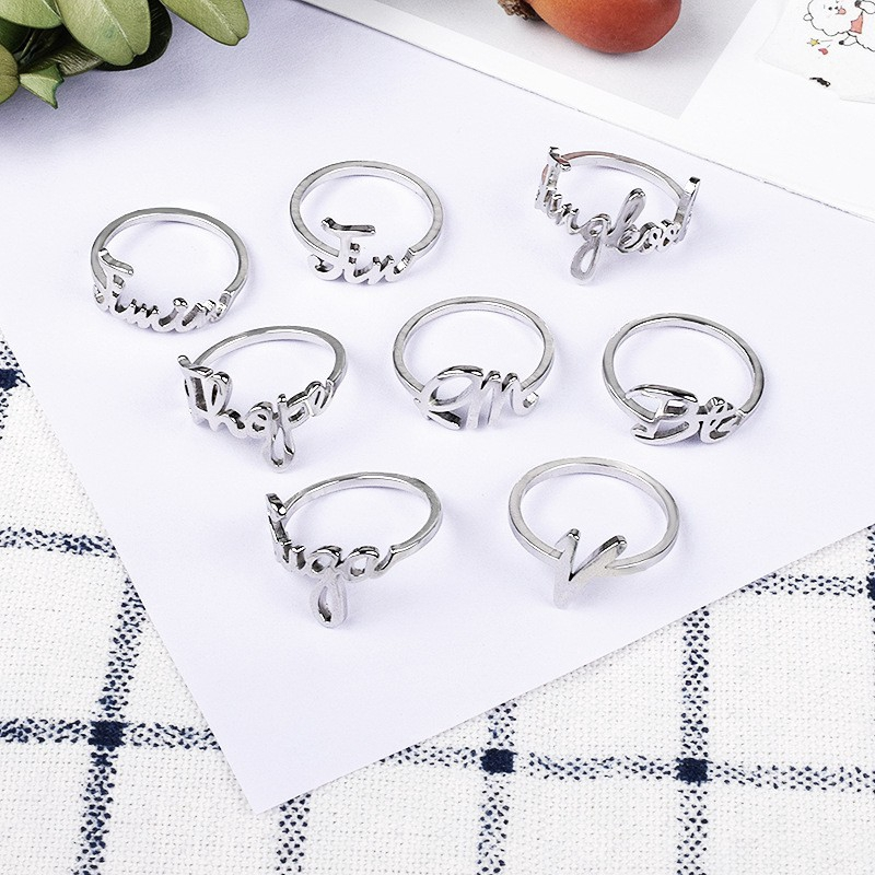 BTS World Tour Concert  SPEAK YOURSELF Simple Alphabet Finger Ring ARMY Collectbiles