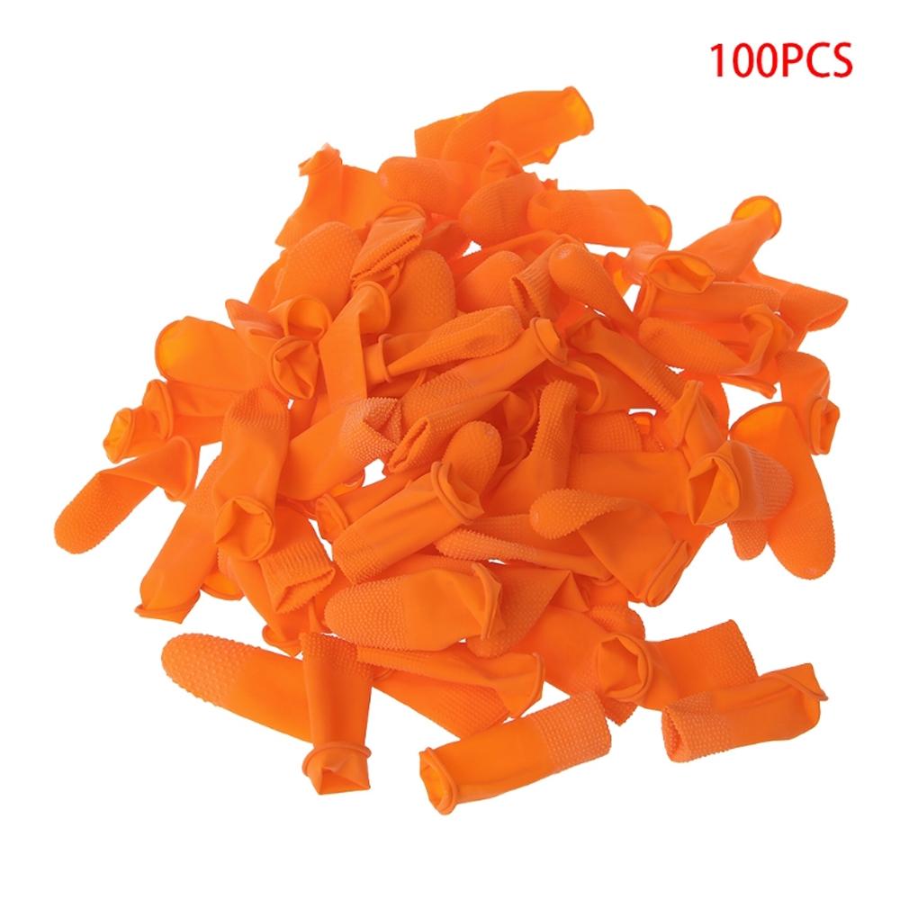 Set 100 Miếng Bọc Ngón Tay Latex Màu Cam Có Thể Tái Sử Dụng Tiện Lợi