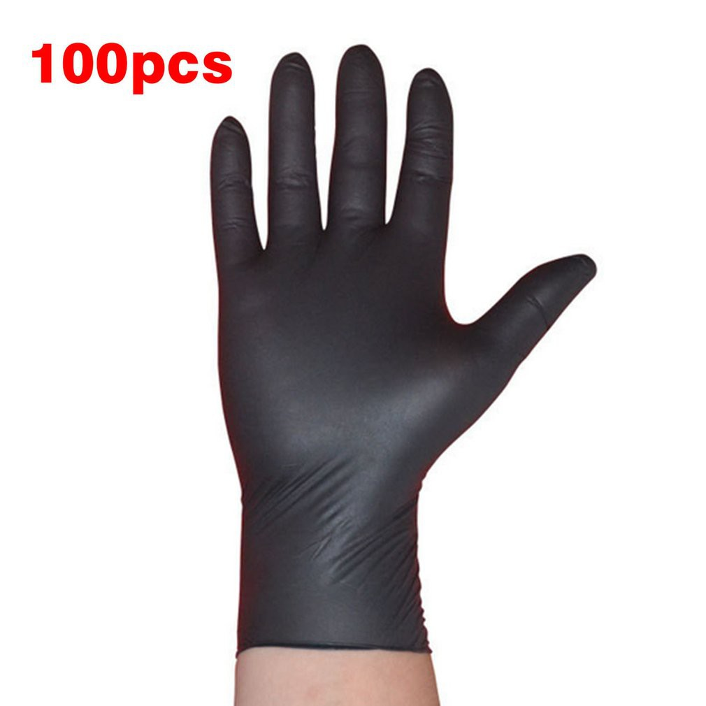 100PCS/SET Cleaning Disposable Mechanic Glove Black Nitrile Anti-Static Gloves