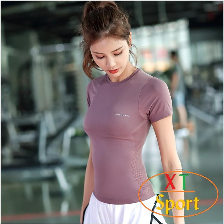 Áo thể thao nữ, áo thun tập gym nữ chất đẹp thấm hút mồ hôi tốt AGM625