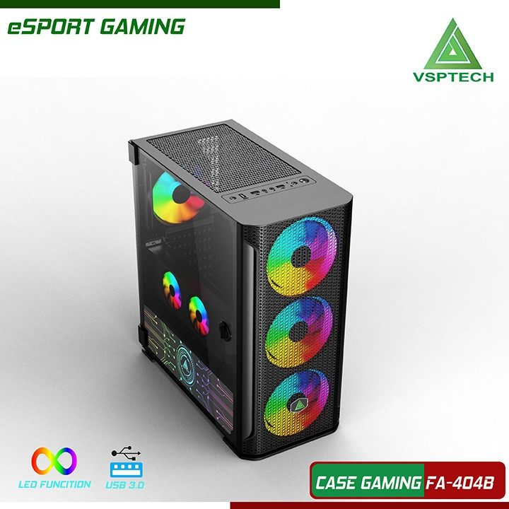 Case VSP FA-404W/FA-404P Gaming Có Sẵn Fan LED RGB 14cm | Shopee ...