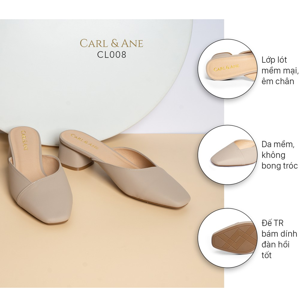 Carl & Ane - Dép cao gót thời trang bít mũi gót vuông kiểu dáng đơn giản cao 4cm màu nude _ CL008