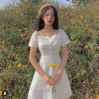 [ BAO ĐỔI TRẢ] đầm hoa cúc trắng cổ vuông [ CÓ CLIP THẬT + HÀNG SẴN] DSHC9080