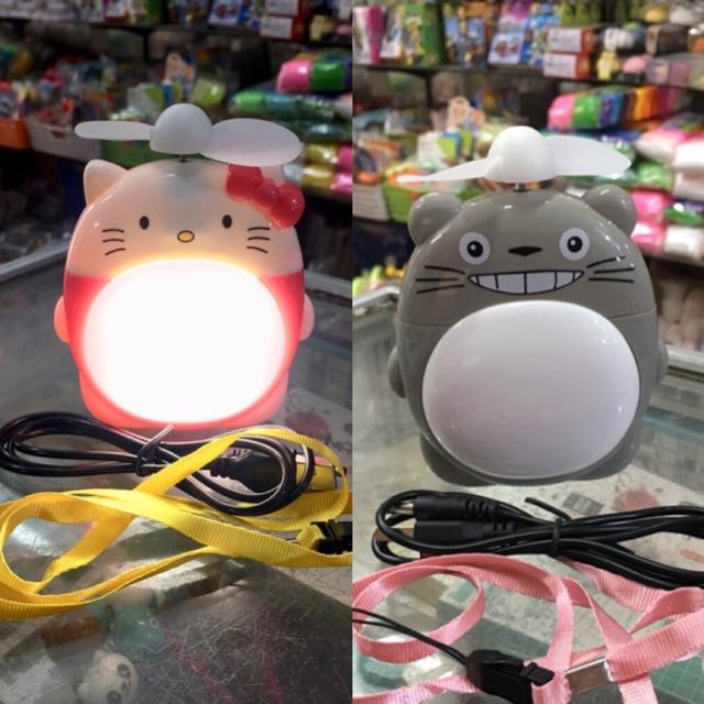 Quạt máy mini hình gấu nâu kèm sạc có đèn