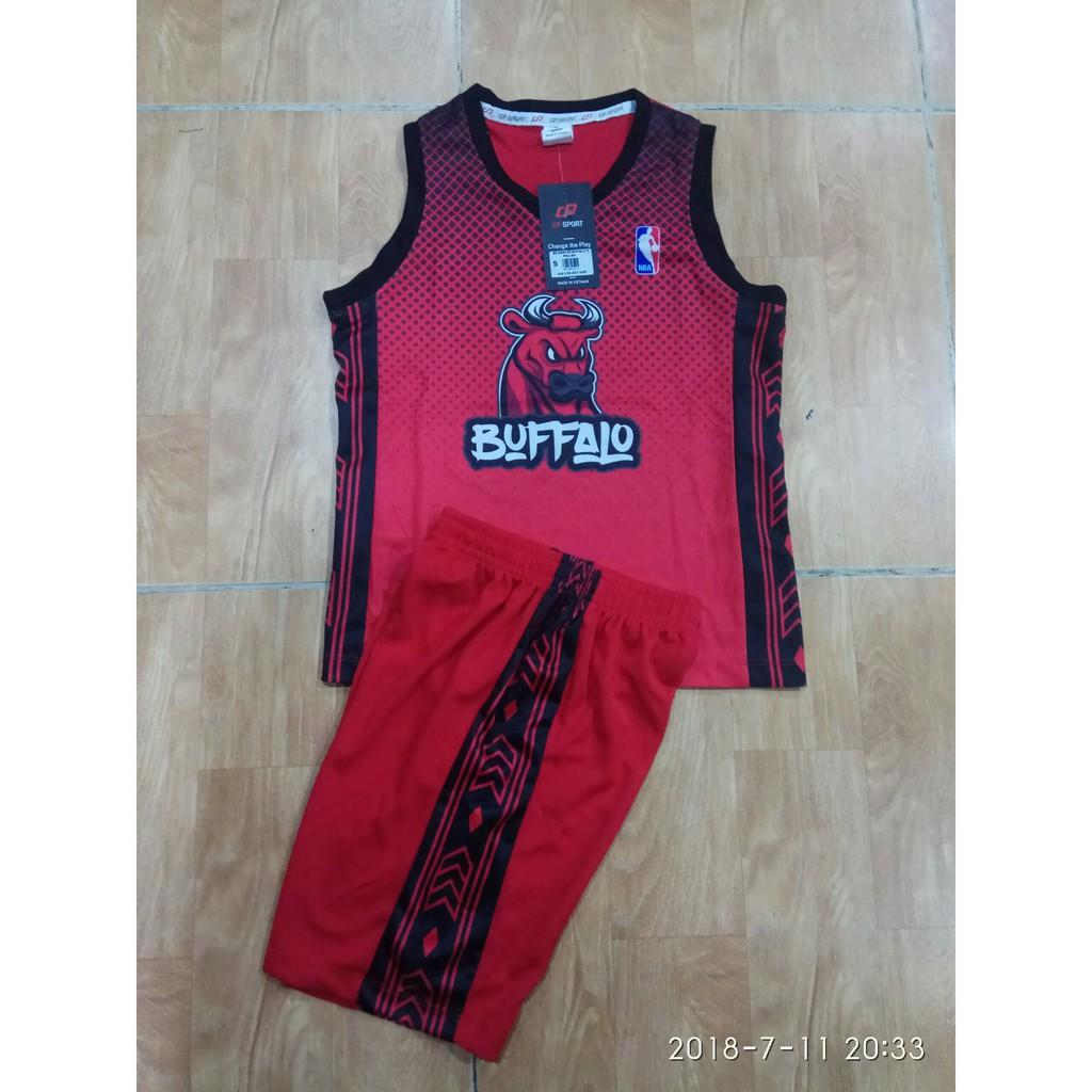Quần áo bóng rổ trẻ em BUFFAL đỏ - ảnh thực tế
