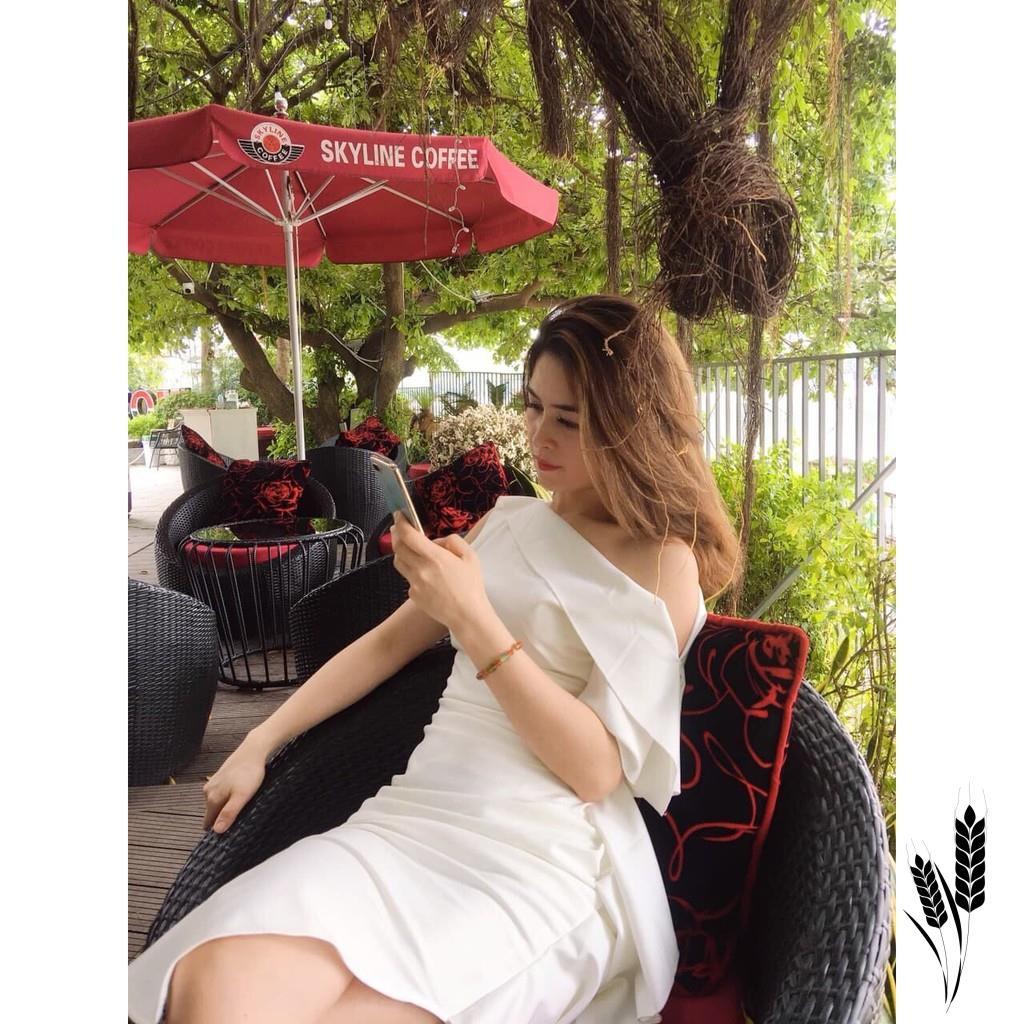 Mặc gì đẹp: Sang chảnh với Đầm Dự Tiệc body Trắng- Đầm Lệch Vai V1014 - Chatfashion.vn- Cao Cấp (Ảnh Thật Trải Sàn Do shop Tự Chụp)