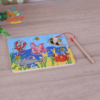 Baby Kids Wooden Magnetic Fishing Game 3D Jigsaw Puzzle Educational Toys