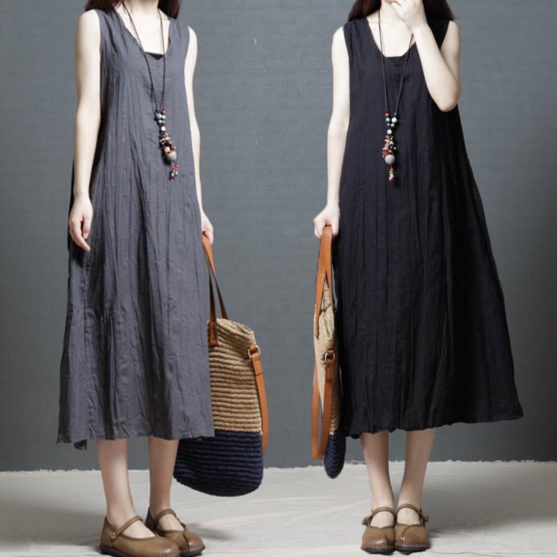 đầm cotton không tay cỡ lớn thời trang cho nữ