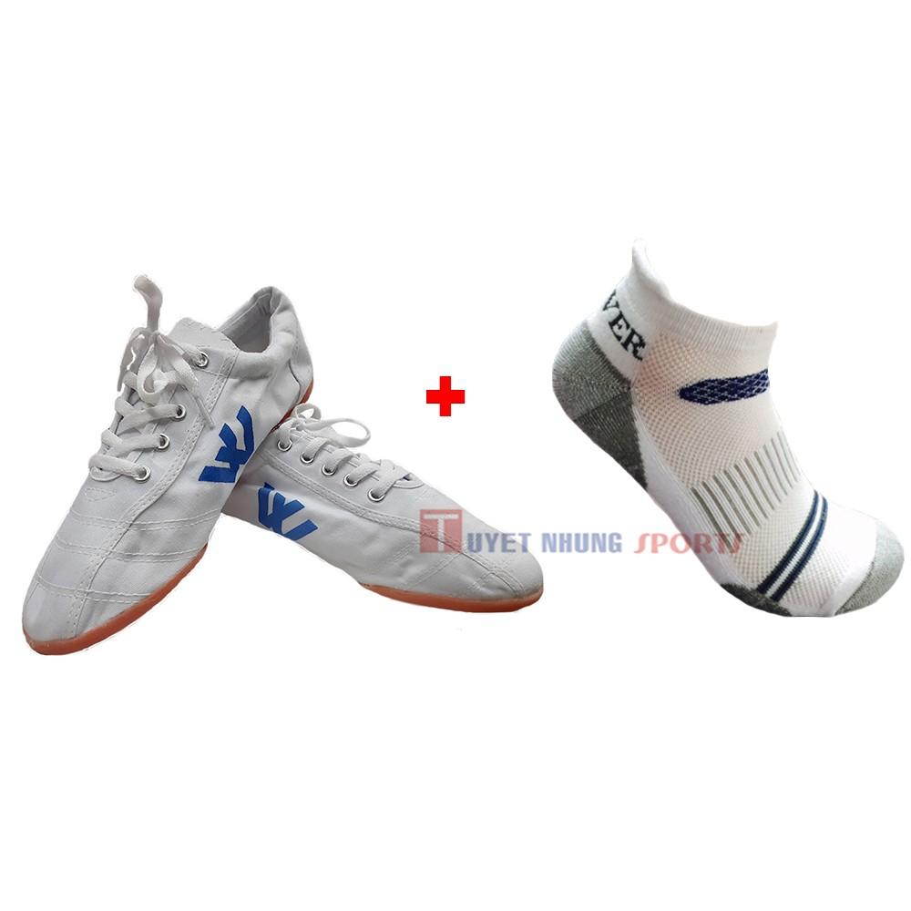 Combo Giày đinh vải đá bóng nam Thượng Đình (trắng) + Tất thể thao nam cotton dầy cổ ngắn Activer S