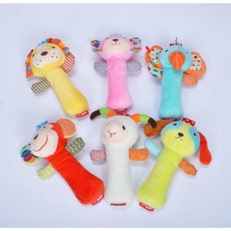 High Quality Newborn Stuffed Animal Rattle Toy Baby Toy BB Stick Hand Crank
