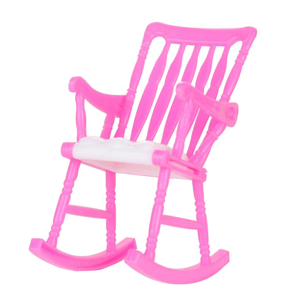 Random Color Mini Toy DIY Decoration Furniture Rocking Chair Dollhouse Plastic Gift Accessories Children Home Room