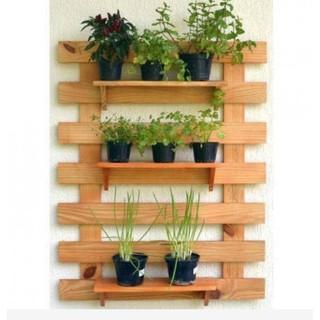 Kệ treo tường kệ trang trí trong nhà ngoài trời ban công giá đựng cây cảnh bằng gỗ thông 60x80cm