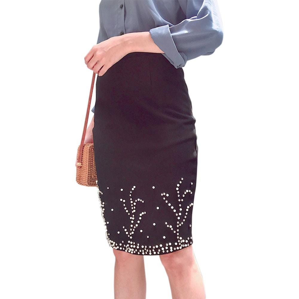 4126273508 - Chân váy bút chì bigsize thun umi co dãn ôm body đóng hột - chân váy bút chì size đại ôm body từ 45kg-80kg