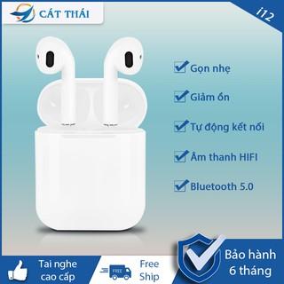 Tai nghe bluetooth không dây Cát Thái i12 tự động kết nối thiết kế nhỏ gọn dễ mang theo thao tác cảm ứng âm thanh HIFI