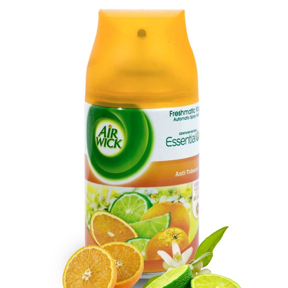 Hương Cam, Chanh - Bình xịt tinh dầu thiên nhiên Air Wick Anti Tobacco 250ml, thơm phòng, khử mùi, tinh dầu chính hãng