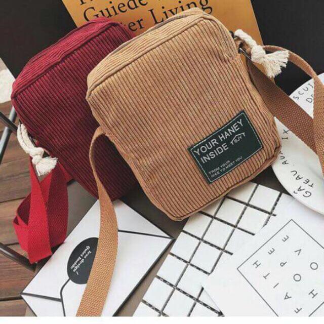 Túi đeo chéo living nhung phong cách hàn quốc
