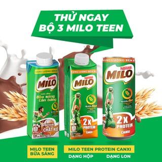 Hình ảnh [Mua 12 tặng 12] Thùng 24 hộp sữa lúa mạch ngũ cốc Nestlé MILO teen bữa sáng ít đường 200 ml/hộp-7
