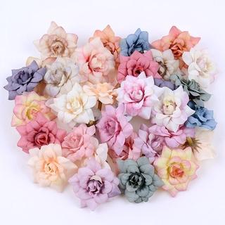10 Bông Hoa Hồng Giả Mini 4.5cm Trang Trí Đa Năng