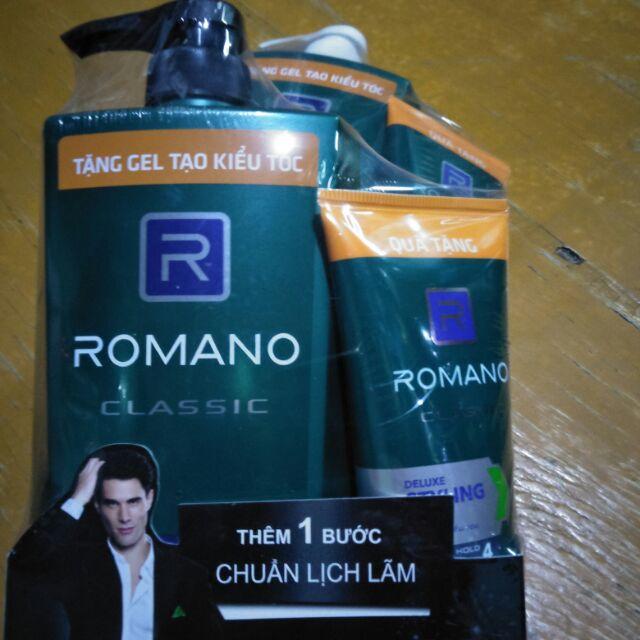 Dầu gội Romano classic 650g tặng Gel tạo kiểu tóc 120g. Giá bao bì 156k giá shop chỉ 115