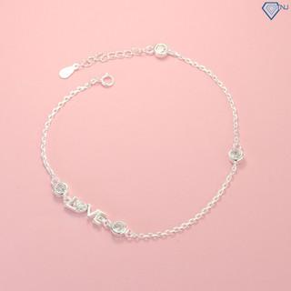 Lắc chân bạc nữ đẹp chữ Love đính đá LCN0057 - Trang Sức TNJ