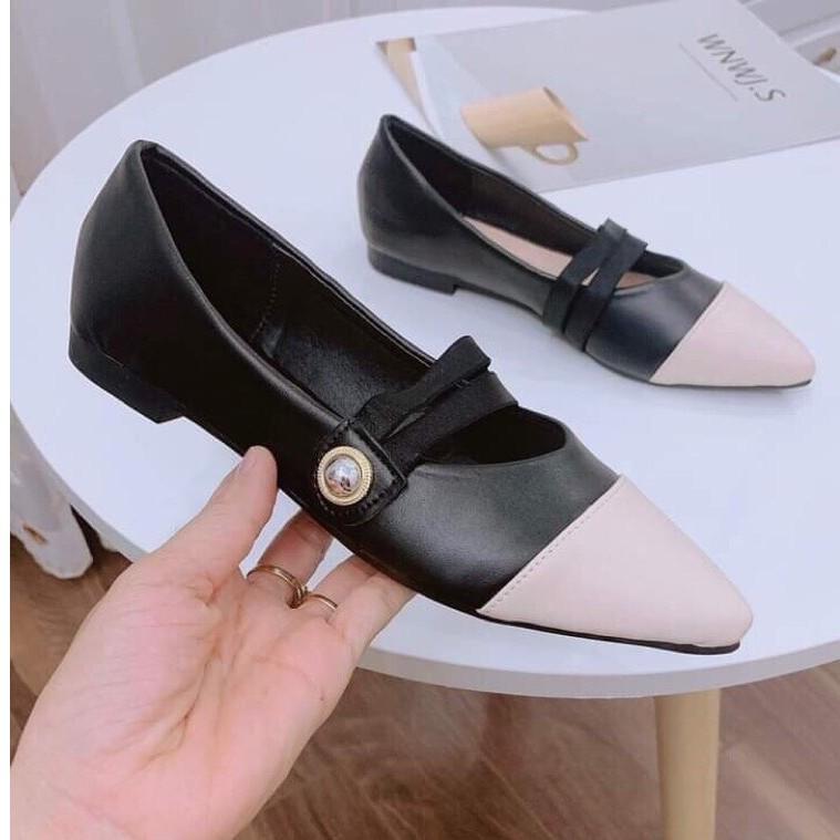 Giày sục bệt nữ thời trang đai ngang đính ngọc cực đẹp
