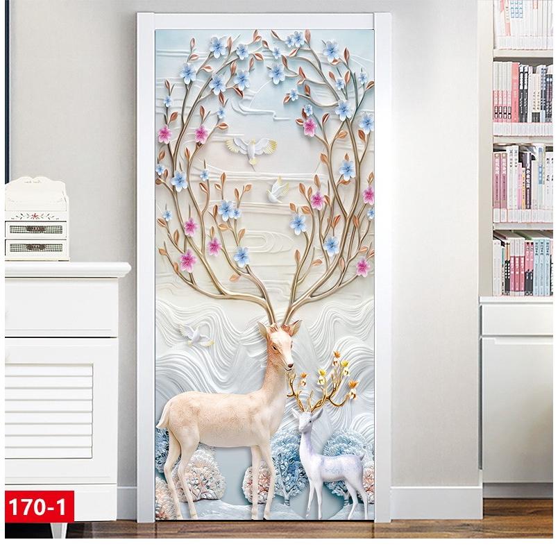 ◕Nordic Deer door sticker wooden refurbished self-adhesive wall Custom Shop creative dormitory rental wardrobe