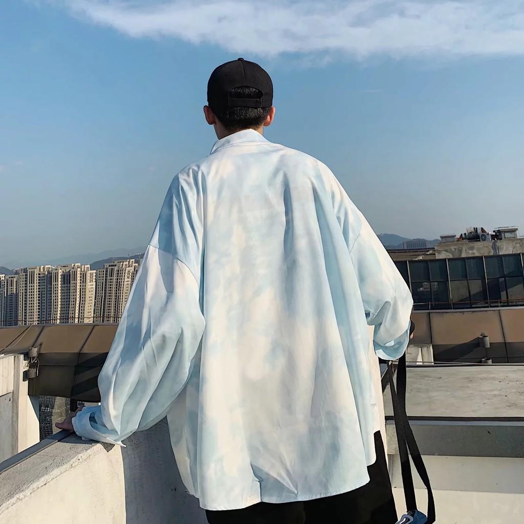 Áo Sơ Mi Tay Dài In Họa Tiết Cá Tính Trẻ Trung Phong Cách Hàn Quốc Cho Nam