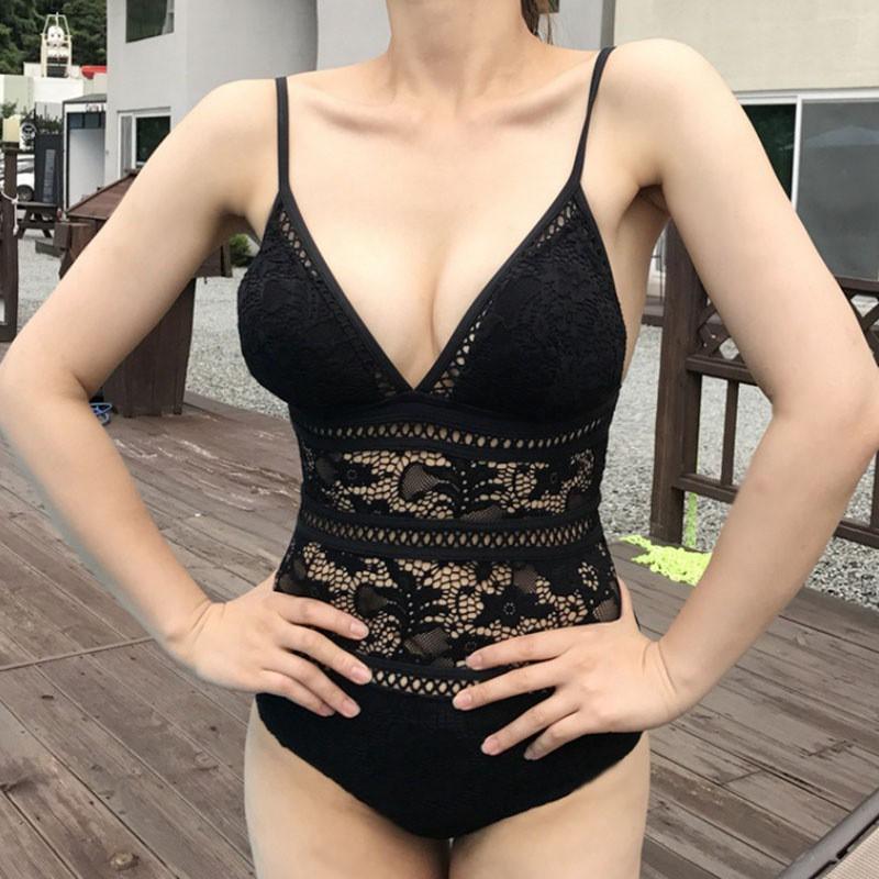 Nhập WA146 hoàn 20k xu đơn 150k_ FREESHIP ĐƠN 99K_ Bộ bikini liền thân phối ren quyến rũ cho nữ