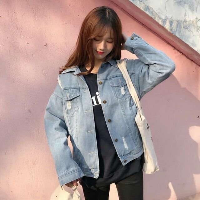 Áo khoác jeans form rộng phong cách cá tính kèm video - 3442793 , 1215096959 , 322_1215096959 , 350000 , Ao-khoac-jeans-form-rong-phong-cach-ca-tinh-kem-video-322_1215096959 , shopee.vn , Áo khoác jeans form rộng phong cách cá tính kèm video
