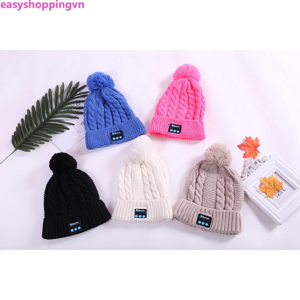 ☀ Fashion Winter Outdoor Smart Bluetooth Earphone Knit Hat Stereo Music Cap