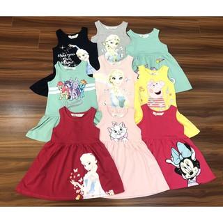 Váy bé gái⚡Bán Chạy⚡Váy cotton HM cho bé gái Elsa, Pony, Mickey chất cotton mềm mát siêu đẹp, nhiều size từ 2- 10 tuổi