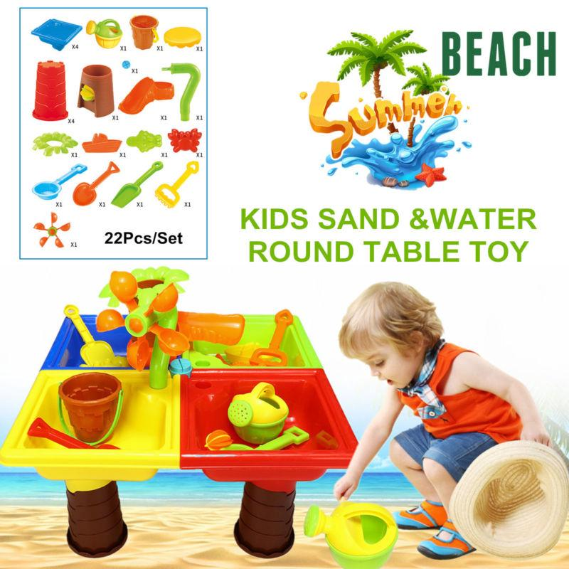 Kids Sand & Water Table Box Outdoor Activity Beach Sandpit Toy Play Set