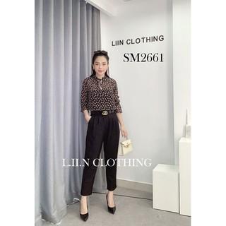 Áo kiểu nữ LINBI CLOTHING dài tay màu đen phối họa tiết xinh xắn kèm cổ dây sành điệu SM2661