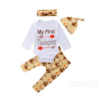 Mu♫-Best Toddler Infant Thanksgiving Newborn Baby Boy Girl Romper Pants Outfits 4PCS Set Clothes