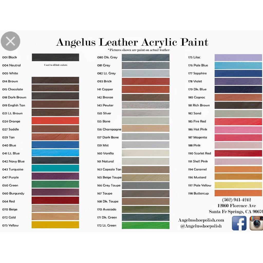 [Bảng màu 1] Màu thuốc nhuộm da cao cấp Angelus Leather Dye – 90ml (3Oz)
