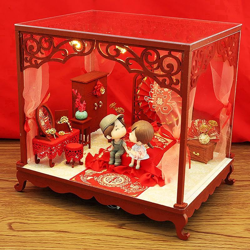 Mô hình nhà gỗ búp bê Tự, Bộ đồ chơi búp bê thu nhỏ với nội thất, làm Nhà thủ công Sưu tầm cho sở thích J13