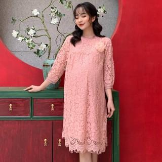 MEDYLA - Đầm bầu dự tiệc ren lót lụa cho bầu diện tết, du xuân, Váy bầu đẹp tặng kèm hoa cài áo - VS467 thumbnail