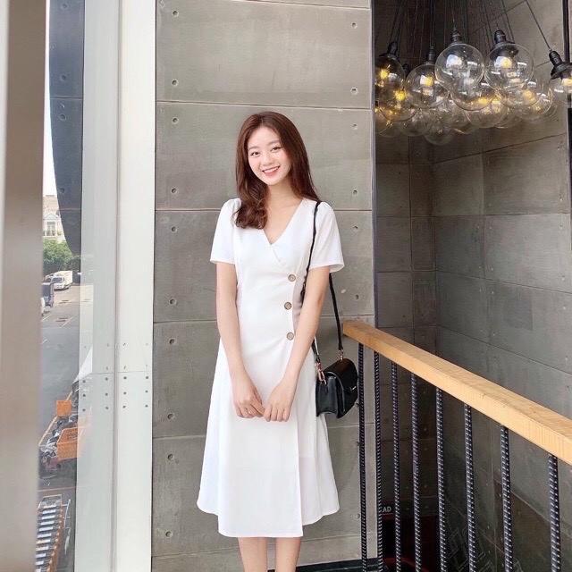 Mặc gì đẹp: Sang trọng với Đầm Công Sở Trẻ Trung SANMAY Váy Đi Dự Tiệc Cưới Hàn Quốc Nữ Cao Cấp, Vải Cotton Lạnh, Thiết Kế Cao Cấp, Màu Đen VD032