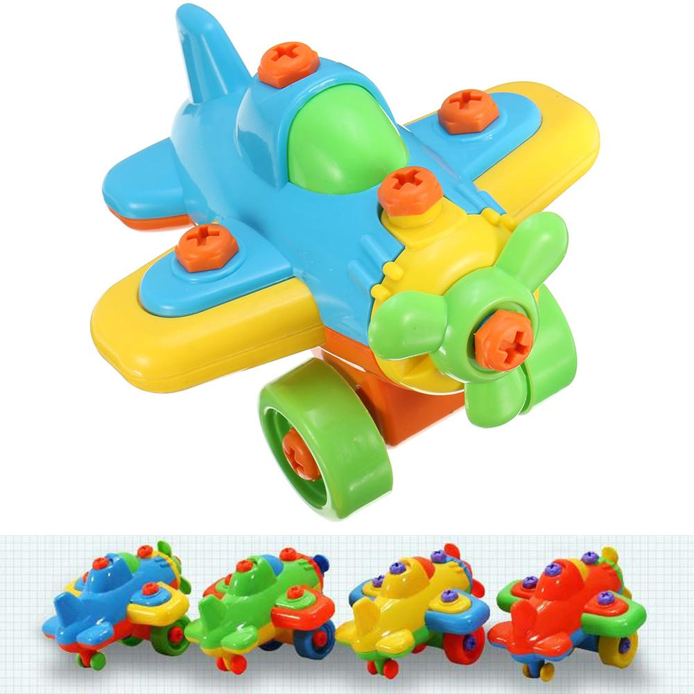 Ocaler DIY Small Plane Blocks Puzzle Kids Toy with Screwdriver Educational Toys